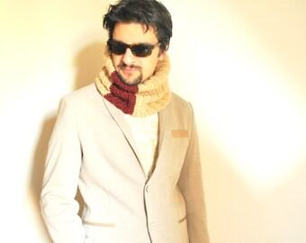 Wool cowl/ man neckwarmer/ crochet/ cream and burgundy/ winter/ accessories