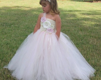 Vintage Dreams - Couture Flower Girl  Tutu Dress in Pink & Ivory SIZES 18M - girls 7
