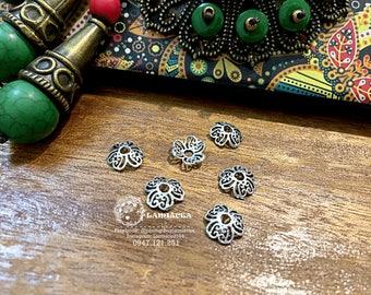 Silver charm s925 9mm thai silver diy torus S925 silver crafted flower torus bead caps 3270009