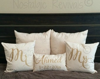 Mr and Mrs Wedding Pillow Cover, Personalized, Custom, Last Name, Monogram, Anniversary, Love, Valentine, Couples, Newlyweds