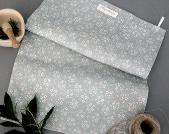 Sage Green Ditsy Floral Linen Union Tea Towel