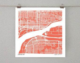 Davenport Map, Hand-Drawn Map Print of Davenport Iowa