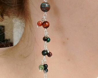 Long drop earrings - nature - Brown-Green-Blue gemstones-silver earrings - birthday gift - ready-to-ship.