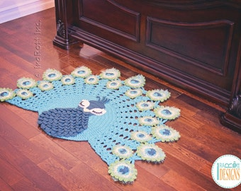 CROCHET PATTERN Pavo the Peacock Rug Nursery Mat Carpet PDF Crochet Pattern with Instant Download