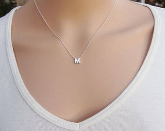 and diamond initial necklace bezel zoe lev jewelry letter