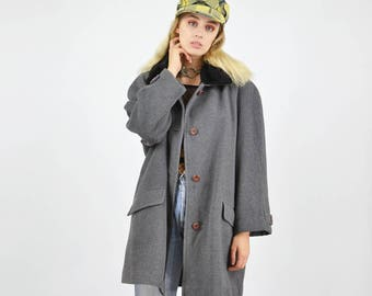 Vintage 90's Grey Wool Coat With Faux Fur Collar