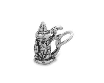 Oxidized Beer Stein Charm, German Beer Stein Charm, Unique Charm, Collectible Charm, Genuine Stamped .925 Sterling Silver, Beer Mug Charm