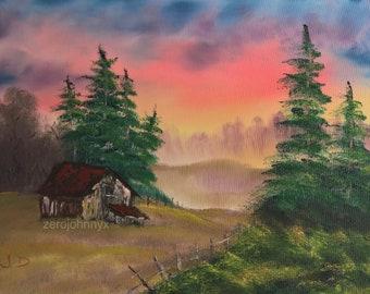 Happy Cabin - Bob Ross Inspired