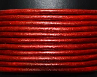 Metallic Moroccan Red - 2mm Leather Cord per yard