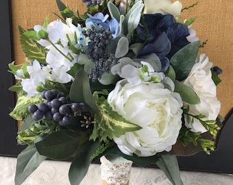 Wedding bouquet,Greenery Bridal bouquet, Succulent bouquet,Boho bouquet,Navy blue Wedding bouquet,Greenery bouquet,Silk Wedding Flowers
