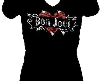 Bon Jovi  Rhinestone Bling  V Neck Short Sleeve Womens Tee Shirt