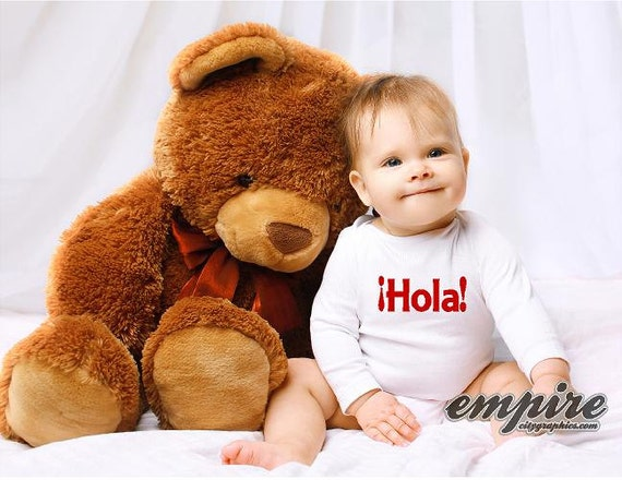 Hola Baby tee, Baby outfits, hello Baby tshirt, hello in Spanish, Love tees, Kids outfit, kids shirts, baby romper, baby onesie, Mothers Day