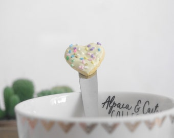 Spoon - yellow polymerclay heart cookie