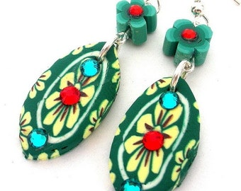 Teal green floral earrings, polymer clay with crystals, green and yellow earrings, long dramatic teal, Spring fashion