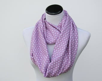 Purple scarf Orchid polka dot scarf, infinity scarf purple white polka dots scarf circle scarf loop scarf gift for mom & toddler infant girl