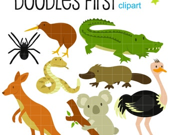 Aussie Animals Digital Clip Art for Scrapbooking Card Making Cupcake Toppers Paper Crafts
