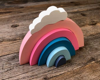 Rainbow Cloud Stacker, Wooden Stacker, Montessori Toy, Waldorf Toy, Educational Toy, Toddler Toy, Eco Friendly Toy