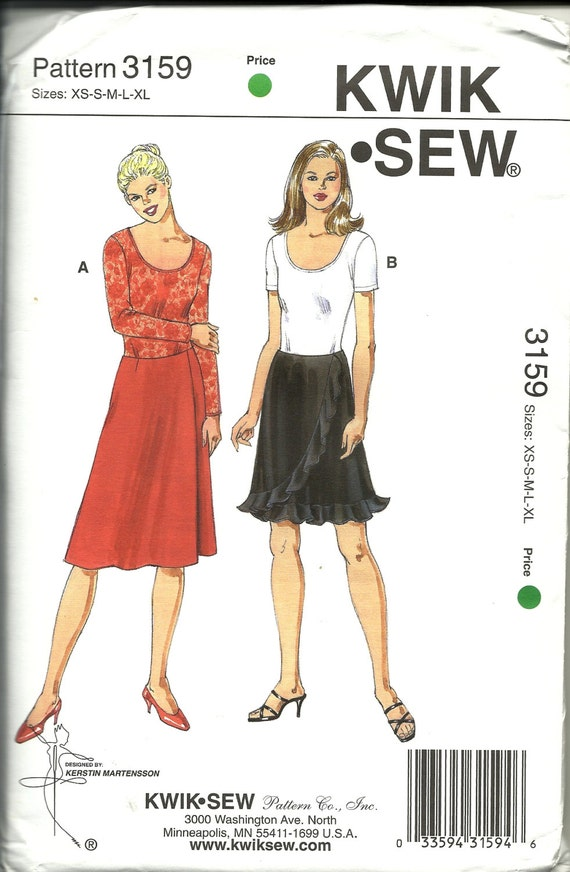 Kwik Sew 3159 Misses Skirts And Top Pattern Stretch Knit Form