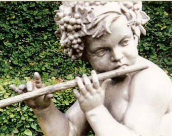 Musical Cherub with Flute - Stone Garden Angel - Matted Photo Art - Original Color Film Photograph by Suzanne MacCrone Rogers