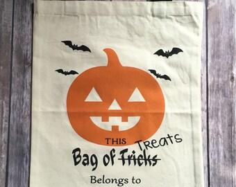 Personalized Pumpkin Trick or Treat Bag, Trick or Treat Tote, Trick or Treat Bag