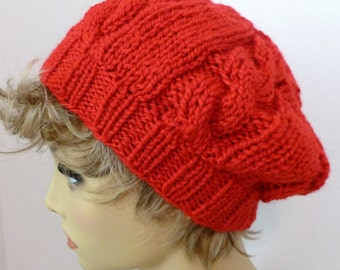 Mens or Womens Hand Knit Cable Slouch Hat Beret Color Bright Red (H-113)