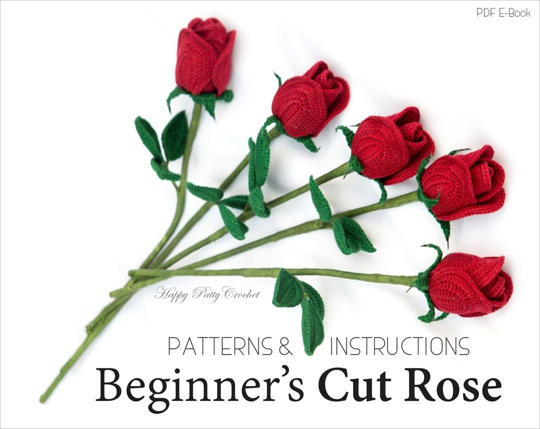Easy Crochet Rose PATTERN Crochet Flower Patterns Crochet