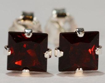 Garnet Earrings~.925 Sterling Silver Setting~5mm Princess Cut~Genuine Natural Mined Gemstones
