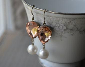 Peach Earrings - Pink Crystal Teardrops with Pearls   Peach and White   Bronze Drop Earrings - Dangle Earrings
