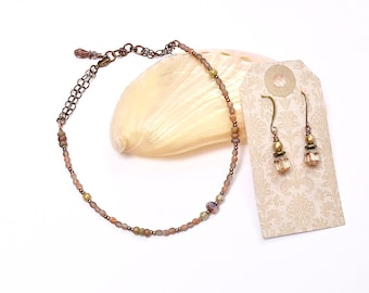 Shimmer Pink Anklet Set, Ankle Bracelet and Earring Set, Feminine Jewelry