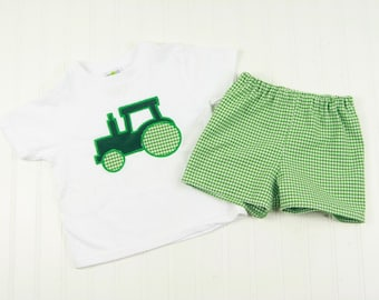 Toddler Boy Clothes - Boys Tractor Shirt - Toddler Boy Shorts - Toddler Outfit - Toddler Boy T-Shirt - Summer Short Outfit- Tractor Tee