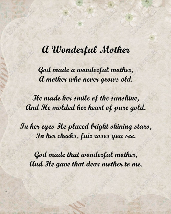 New Items similar to A Wonderful Mother Love Poem for Mom 8 X 10 Print  XS05