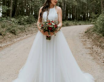 ABBIE // Size 10 // 2 Piece Wedding Gown, Lace Halter dress with a Separate Tulle Skirt