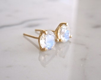 Moonstone Stud Earrings, Rose White or Yellow Gold, Martini Set Earrings, June Birthstone, Rainbow Moonstone,
