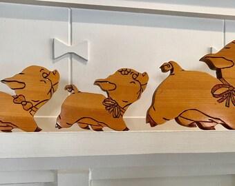 Delightful Vintage Set of Varnished Wood Pig-Shaped Cutouts