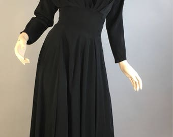 Claire McCardell vintage 50s dress// Vintage Circle Skirt Dress// 50s Little Black Dress in black silk (F1)