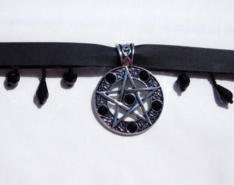 Faux Leather Pentagram and Beaded Choker
