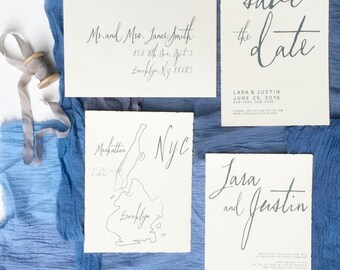 Custom Printed | Deckled Edge | Save the Date | Invite | RSVP | Envelope