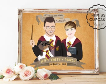 Custom Portrait // Celebrity Theme / Movie Theme Portrait/Harry Potter Portrait/Illustration Portrait/Personalized Cartoon Family Portrait