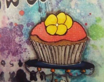Mixed Media Cupcake Note Card