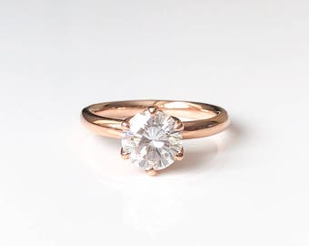 Forever One Moissanite Engagement ring, Rose Gold, Conflict Free, Diamond, Tulip Ring, Simple, Lotus