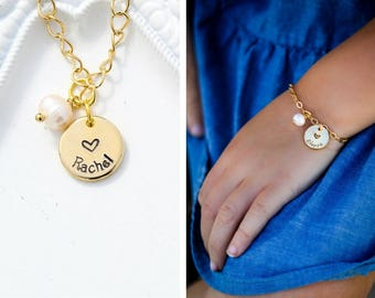 Girls Name Bracelet • Personalized Flower Girl Bracelet Charm Gold Toddler Jewelry • Girls Gift Child Bracelet Bridesmaid Gift