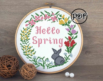 Hello spring cross stitch pattern Happy easter embroidery pattern Floral wreath Seasons hoop art botanical decor Cross stitch pattern flower