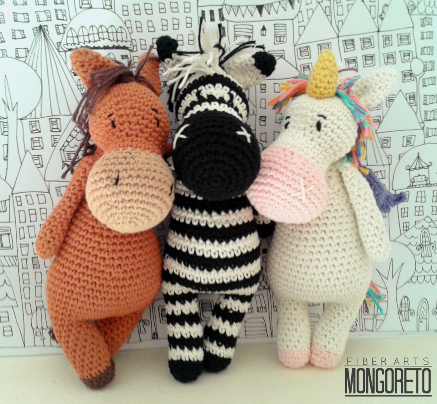 Amigurumi pattern x 3: Unicorn Zebra and Horse 3 in 1