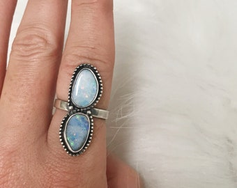 Double opal ring // size 7.5 sterling silver // made in byron bay // genuine australian opal
