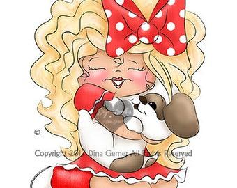 Instant Download Digital Stamp Digi Stamp Lexi Curly Girl by Dina Gerner