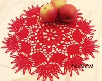 RED doily crocheted