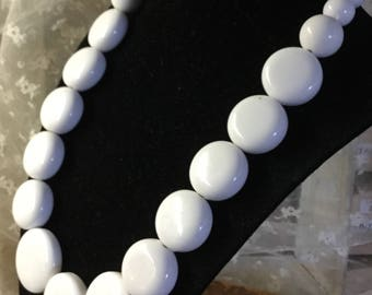 Bright Glossy White Disk Bead Necklace Unsigned Single Strand Simple Design Larger Beads Statement Necklace 1970's 1980's Mint Shaped Woman