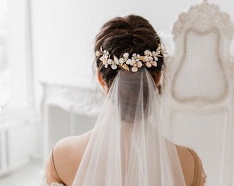 Wedding Back Headpiece, Floral Bridal Headpiece, Bridal Hair piece, Set of 3 Headpieces, Gold Leaf Headpiece, Wedding Hair Accessory- BELLA