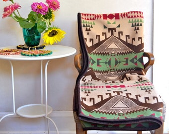 Large Wool Throw Blanket Native American Design in Dark Brown Green Beige Maroon
