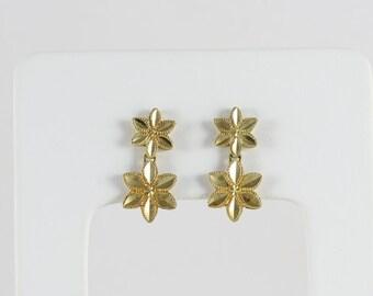 10k Yellow Gold Flower Earrings Dangle Drop